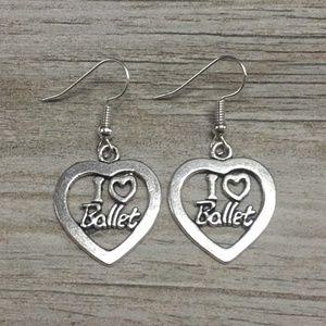 Dance Ballet Charm Earrings, Girls Ballerina Shoe